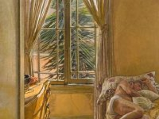 """Alpha and Omega (oil on linen, 36"""" x 26"""", 2005) Manny Cosentino, Paintings. Interior with male nude. Yellow ochre palette, Southern California light"""
