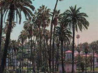 """Echo Park (oil on canvas, 24"""" x 24"""", 2003) Manny Cosentino, Paintings. Plein Air painting of Echo Park Lake, before its restoration (2011-13) from the west edge, looking east through the palm trees at the Cathedral Center of St. Paul."""