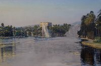 "Echo Park Unfinished (oil on canvas, 24"" x 36"", 1992) Manny Cosentino, Paintings, Studies. Unfinished hyper-real study of Echo Park Lake. Damaged from a fall off the easel while in progress (gesso to the right in the upper sky is cracked.) View of the lake from the south end looking north towards Sunset Boulevard. Developed from a pencil drawing on a grey ground."