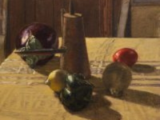 """Still Life with an Eggplant (oil on canvas-board, 11"""" X 14"""", 2013) Manny Cosentino, Paintings. Still life . Indirect painting methods, underpainting, wipeout, glazing, scumbling. Simple still life study of an eggplant, a plum tomato, a lemon, an onion, a pasilla pepper and a Turkish coffee pot on a yellow ochre, embroidered table cloth, against a dark background."""