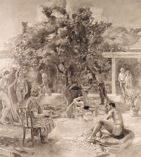 "Figure Composition #2 (pencil on bristol, 33"" x 30"", 1995) Copyright © Manny Cosentino 1995. Drawings. Pencil drawing of multi-figured composition, nude and clothed, around lemon tree in Cosentino's Malibu nursery. Mathematically based perspective."