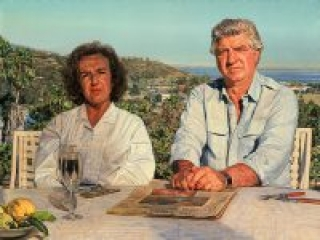 """Jo and Joe; Portrait of the Artist's Parents (oil on linen, 30"""" x 40"""", 1999) Manny Cosentino, Paintings. Double portrait composition of the artist's parents that incorporates a landscape of Malibu in the background, with a still life on a table in front of the figures as well."""