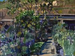 "Lemon Tree Study (oil on canvas, 24"" x 24"", 1995) Manny Cosentino, Paintings, Studies. Plein air study of a lemon tree and the surrounding plants at the Cosentino Nursery in Malibu, CA."