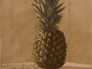 """Pineapple 1 (oil on canvas-board, 16"""" X 20"""", 2014) Manny Cosentino, Paintings. Still Life, indirect painting methods, wipeout, grisaille, glazing, drag medium. Simple study of a pineapple on a table against a panelled wall."""