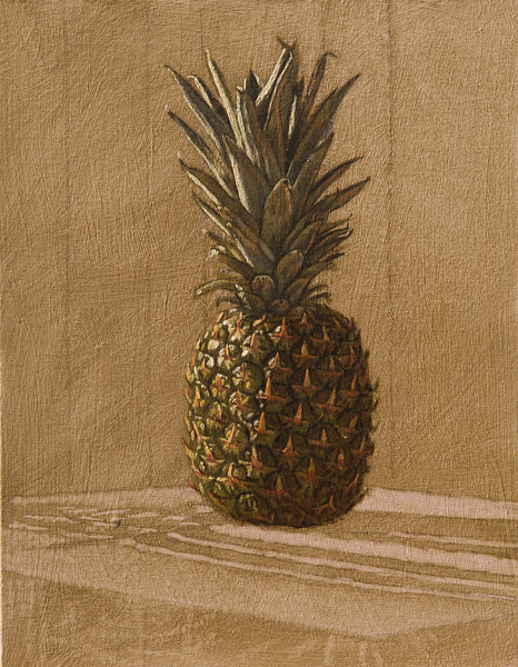 "Pineapple 1 (oil on canvas-board, 16"" X 20"", 2014) Manny Cosentino, Paintings. Still Life, indirect painting methods, wipeout, grisaille, glazing, drag medium. Simple study of a pineapple on a table against a panelled wall."