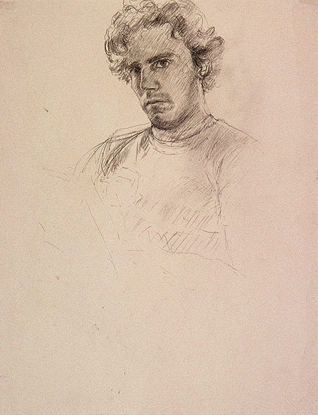 "Self Portrait Sketch (pencil on paper, 17"" X 11"", 1983) Copyright © Manny Cosentino 1983 Drawings. Pencil self portrait of the artist."