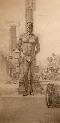 "Study for St. Sebastian on Sunset #2 (pencil on bristol, 30"" x 15"", 2002) Copyright ©Manny Cosentino, 2002, Drawings. Sketch done in studio for modern day St Sebastian composition set on Sunset Boulevard, Sliverlake (Los Angeles.) Paraphrases St Sebastian, Antonello da Messina, 1477."
