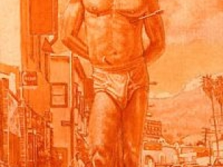 """Saint Sebastian on Sunset Grisaille (oil and egg tempera on masonite, 24"""" x12"""", 2005) Manny Cosentino, Paintings, Studies. Underpainting study for a modern day St. Sebastian composition on Sunset Boulevard in Sliverlake (Los Angeles.) The Vista movie theatre can be seen in the deep space in the lower right part of the background. Paraphrase of a St Sebastian composition by Antonello da Messina from 1477."""