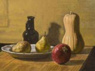 """Still Life Study 3 (oil on canvas, 12"""" X 16"""", 2016) Manny Cosentino, Paintings. Still Life, grisaille, glazing, wipeout. Simple still life study with a small oil bottle, some pears, a light blue plate, a butternut squash and a red onion on a wooden cutting board."""