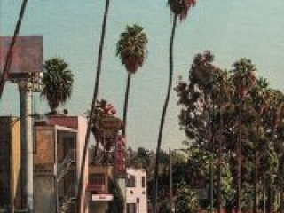 """Sunset Pacific Motel (oil on linen, 24"""" x 24"""", 2002) Manny Cosentino, Paintings. Plein Air urban landscape of a delapidated motel and the surrounding palm trees on Sunset Boulevard, in the Silverlake section of Los Angeles."""