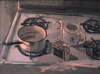 "Tea Still Life (oil on masonite, 18"" x 24"", 1983) Manny Cosentino, Paintings, Studies. ""Found"" still life on top of the stove. White enamel stove with black circular grates, an old white enamel pot for boiling water, a china tea pot decorated with a Chinese figure, a metallic box of tea. Colors are whites, varying shades of black. greys, light blues, faint lavenders and greens."