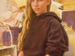 """Tatiana  (oil and egg tempera on canvas=board, 20"""" x 16"""", 2006) Manny Cosentino, Paintings. Portrait of a young girl in a hooded sweatshirt, amidst the clutter of the artist's studio.,"""