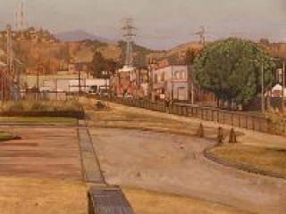 """The Cornfield (oil on parer, 19"""" x 19"""", 2009) Manny Cosentino, Paintings, Urban Landscapes. Plein Air study of the """"Cornfield,"""" aka Los Angeles State Historic Park, in 2009, looking north along Spring street."""