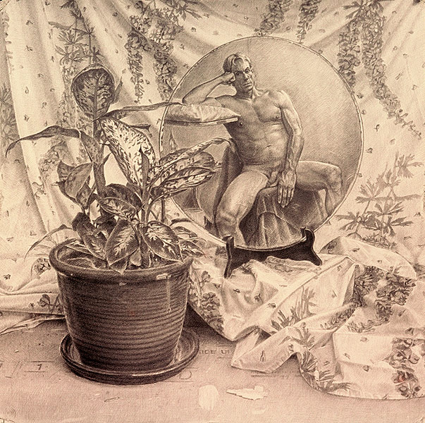 "The Muse (pencil on bristol, 30"" x 30"", 2001) Copyright © Manny Cosentino 2001, Drawings. Hyper-real pencil drawing, male nude in a mirror, dieffenbachia, wisteria patterned sheet."