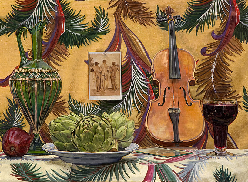 "Three Artichokes and a Violin (oil on linen, 22"" x 30"", 1997) Manny Cosentino, Paintings. Still Life with three artichokes, a glass of red wine, an apple, a violin, a green glass decanter and a patterned background, to which is affixed a postcard photo of three male nudes, seen from behind, by Wilhelm Von Gloeden."