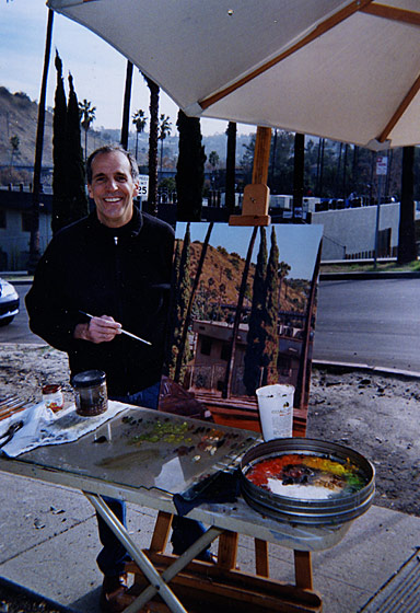 Photograph of Manny Cosentino painting on site, Arroyo Glen Drive. Highland Park, Los Angeles. Copyright © Manny Cosentino 2015
