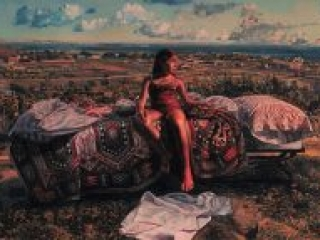 """Portrait in a Landscape (oil on canvas, 26"""" x 36"""", 1980) Manny Cosentino, Paintings. A young girl sitting on a bed covered with an ornate bedspread, on a bluff overlooking Malibu and the ocean beyond."""