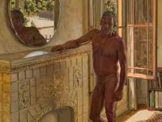 """Remembrance of things Past (oil on linen, 40"""" x30"""", 2005) Manny Cosentino, Paintings. Interior with male nude standing next to an old ornate fireplace in an old apartment in Los Angeles"""