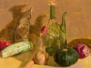 """Ryman Still Life (acrylic on canvas-board, 16"""" X 20"""" 2006) Manny Cosentino, Paintings, Studies. Acrylic painting, indirect painting methods, underpainting, glazing. Still life study-demo on a yellow ochre ground. Wine decanter, bamboo shoot, brown and red onion, carrot, upo and kabocha squash, and a red pepper make up the still life.,"""