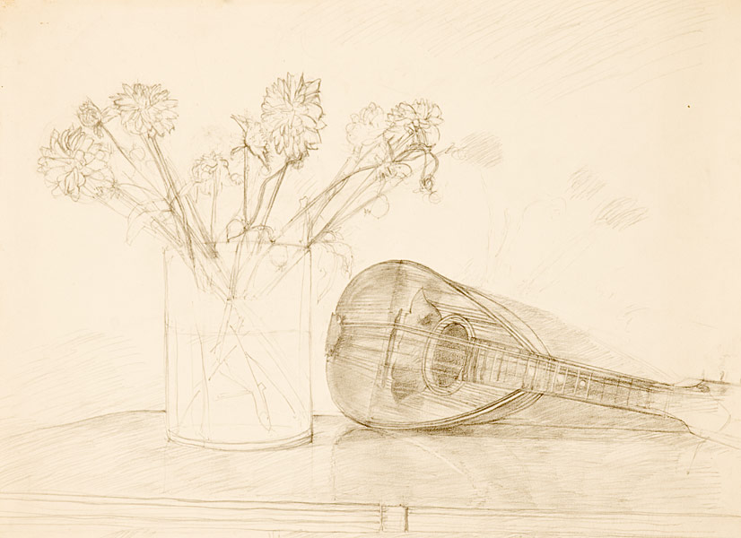 "Dahlias (pencil on bristol board, 18"" X 24"", 1998) Copyright © Manny Cosentino 1998. Drawings. Still life, Flowers. Pencil drawing of a mandolin and some dahlias in a vase, sitting on a formical table."