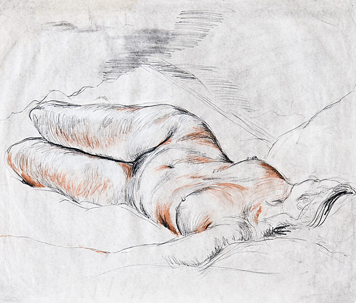 "Female Nude Study (charcoal, conte on paper, 18 X 20"", 1983) Copyright © Manny Cosentino 1983. Drawings. Reclining female nude, contour and cross contour, red and black conte crayon."