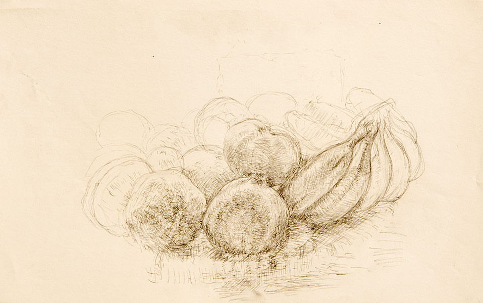 "Fruit Still Life (pencil on paper, 11""X 17"", 1981) Copyright © Manny Cosentino 1981. Drawings. Still life. Pencil sketch of a round flat basket of fruit. Contour, cross contour, shading."