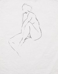 "Gesture Contour Study (crayon on paper, 24"" X 18"", 1980) Copyright © Manny Cosentino 1980. Drawings. Female nude study gesture and contour."