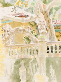 "Il Sogno (watercolor on paper, 17"" X 11"", 2004) Copyright © Manny Cosentino 2004. Drawings. Watercolor sketch of Mediterranean house and garden."