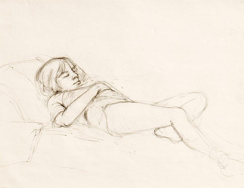 "Joie Asleep (pencil on paper, 11"" X 14"", 1982) Copyright © Manny Cosentino 1982 Drawings. Pencil sketch of a young girl asleep on a chaise lounge."