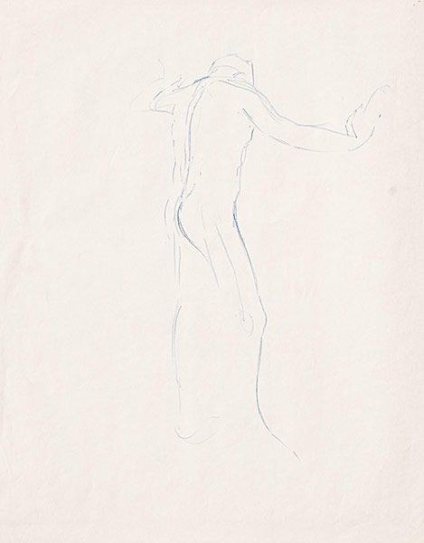 "Male Nude, gesture, contour (crayon on newsprint, 24"" X 18"", 1991) Copyright © Manny Cosentino 1991. Drawings. Male nude study showing basic gesture, line ofaction and some contour. Blue crayon."