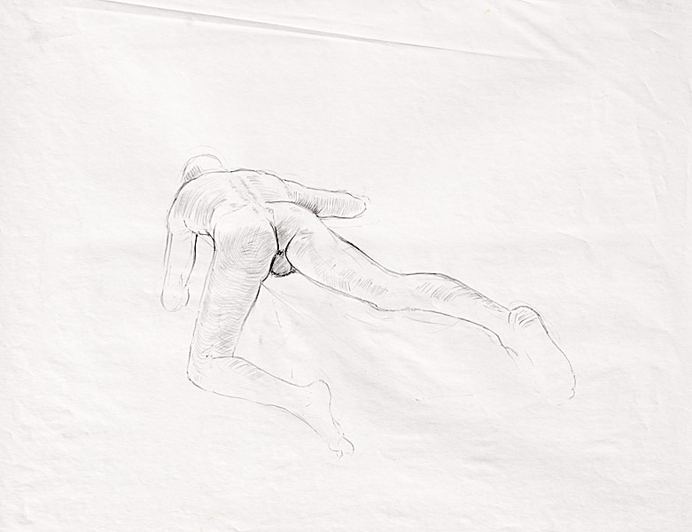 "Male Torso, Cross Contour (pencil on paper, 18"" X 24"", 1991) Copyright © Manny Cosentino 1991. Drawings. Forshortened male nude, contour and cross contour drawing."