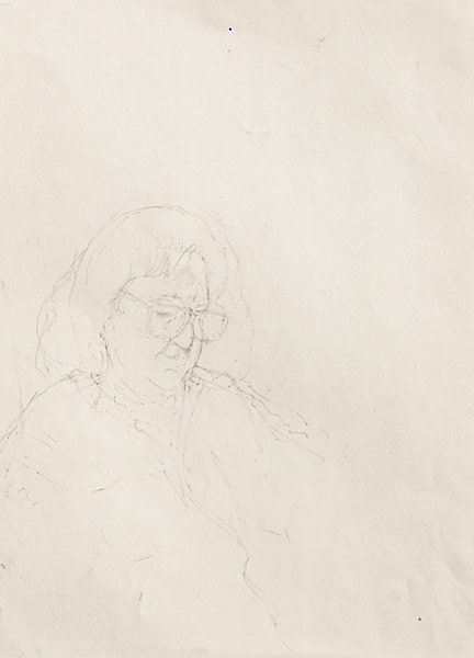 "Mom Asleep (pencil on paper, 11"" X 14"", 2000) Copyright © Manny Cosentino 2000. Drawings. Contour line study of the artist's mom asleep."