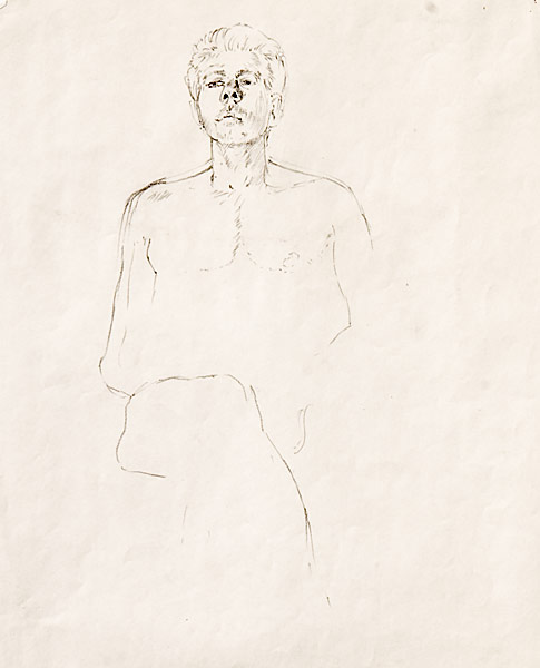 "Mr. Cool (pencil on paper, 17"" X 11"", 1991) Copyright © Manny Cosentino 1991 Drawings. Contour line portrait study of a nude male model."