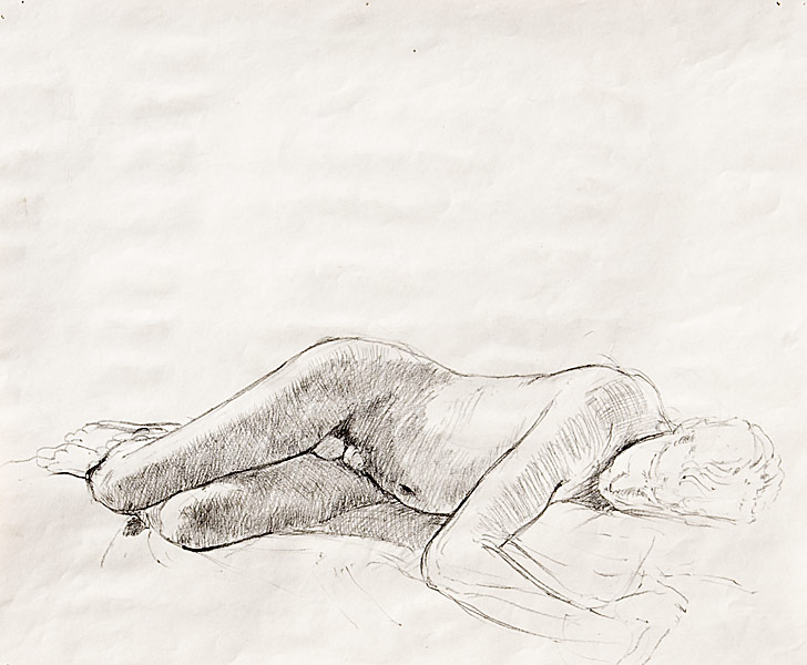 "Sleeping Male Nude Study (pencil on paper, 11"" X 14"", 1991) Copyright © Manny Cosentino 1991. Drawings. Sleeping male nude, contour, cross contour, shading."