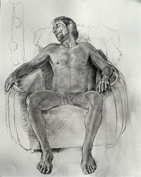 "Tim (pencil on bristol, 25"" x 19"", 2000) Copyright © Manny Cosentino 2000. Drawings. Pencil study of nude male asleep sitting in an art deco chair."