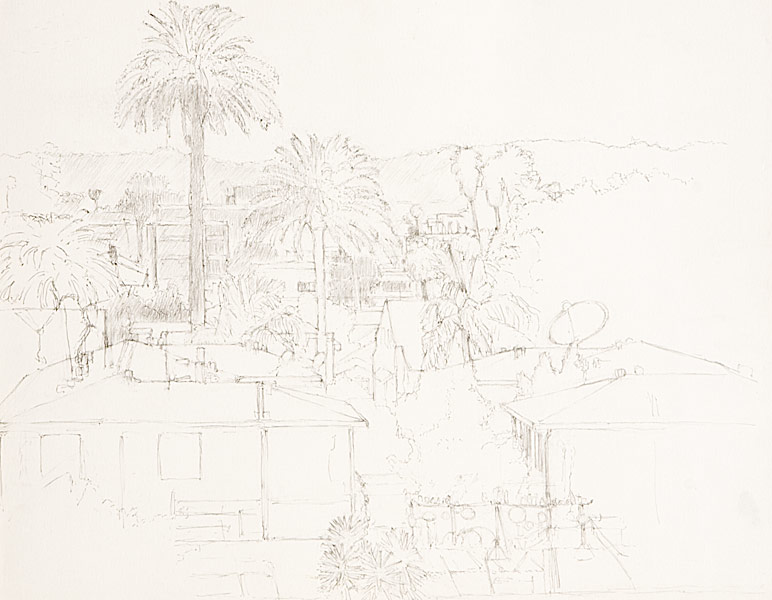 "View from Coronado Street (pencil on bristol board, 18"" X 24"", 2004) Copyright © Manny Cosentino 2004. Drawings. Urban Landscapes. Los Angeles cityscapes. Pencil drawing looking norhtwest towards the Hollywood Hills from Coronado Street and Beverly Boulevard."