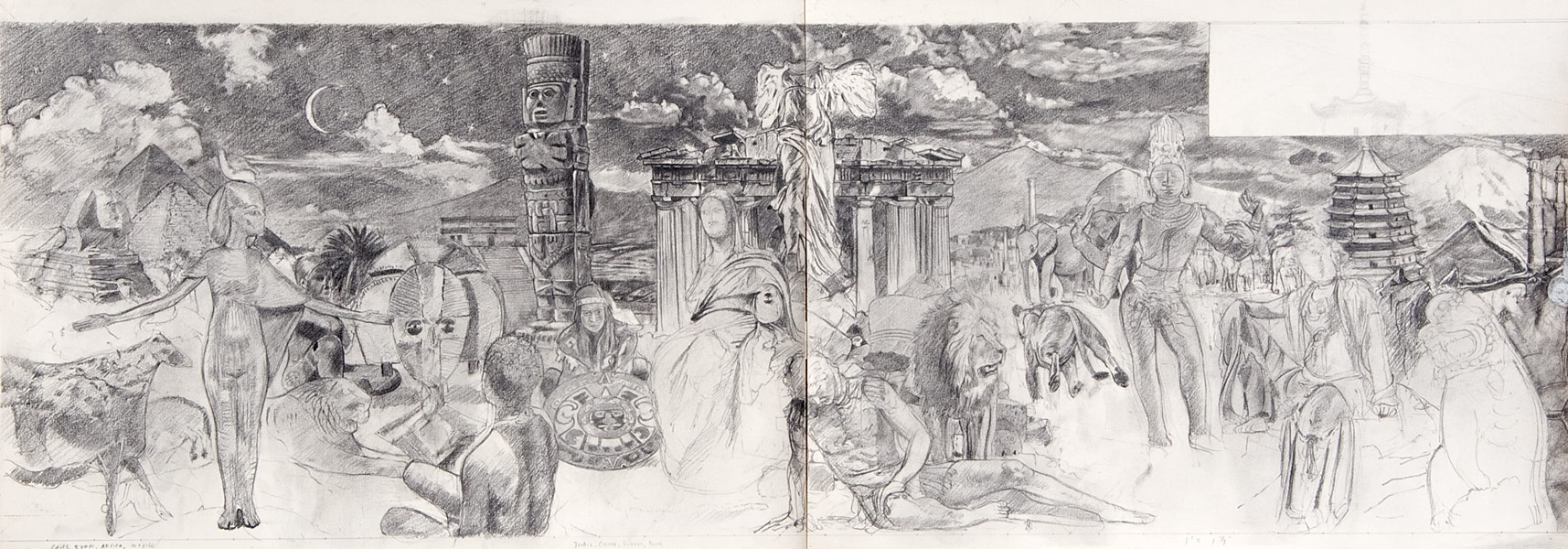 "Detail of Wilson Middle School Mural Drawing; 1st half (pencil on bristol, 19"" x 50"", 1993) Copyright © Manny Cosentino 1993. Drawings. Pencil composition sketch to scale of 1st half of mural; apprx 11' X 37.5'. Ancient, African, Meso-American, Greco_Roman, Indian and Asian art."
