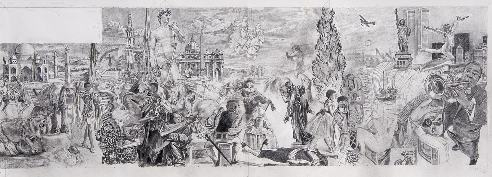 "Detail of Wilson Middle School Mural Drawing; 2nd half (pencil on bristol, 19"" x 50"", 1994) Copyright © Manny Cosentino. Drawings. Pencil composition sketch to scale of 2nd half of mural; apprx 11' X 37.5'. Gothic, Renaissance, Baroque, Impressionist, Post Impressionist and Modern art."