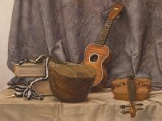 """Ode to Evaristo (oil on paper, 19"""" X 25"""", 2017) Still life with a mandolin, a violin and a ukulele, in the style of 17th century Italian Baroque painter Evaristo Baschenis. Set against blue drapery, on a table-top covered with grey fabiric. © Manny Cosentino"""