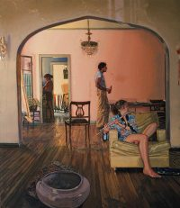 "448 N. Spaulding Ave. (oil on canvas, 60"" x 48"", 1983) 3 figures in a warmly lit Los Angeles apartment"