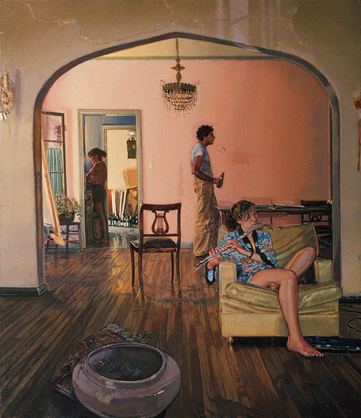 448 N. Spaulding Ave. Oil painting, three-figure composition. Two female figures and one male figure in an old apartment in Los Angeles. In the living room is a seated female figure, clad in a short aqua-blue kimono, playing a flute. Behind her in the dining room is a male figure seen in profile, holding a beer. We see into the kitchen, towards the back of the painting on the left, where another female figure, in shorts is standing at the sink washing dishes. The emphasis in the painting is on serene light and color. Classical disorder. ©Manny Cosentino 1983