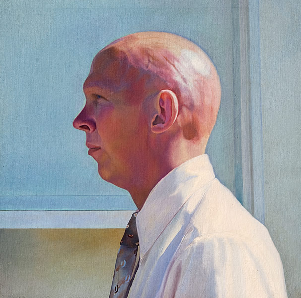Oil painting, severe profile of totally bald man in bright sunlight, set against a pale blue and grey background. Heightened colors and textures, and the nfluence of Renaissance profile portraits. ©Manny Cosentino 1977.