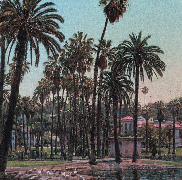 Echo Park. Oil painting, plein air painting of Echo Park Lake before its restoration (2011-2013.) Standing on the north-west edge of the lake, looking due east, through the tangle of Washingtonia and Canary Island date palms. One sees the old pump house and the Cathedral Center of St. Paul further in the distance. Mid-afternoon light. © Manny Cosentino 2003