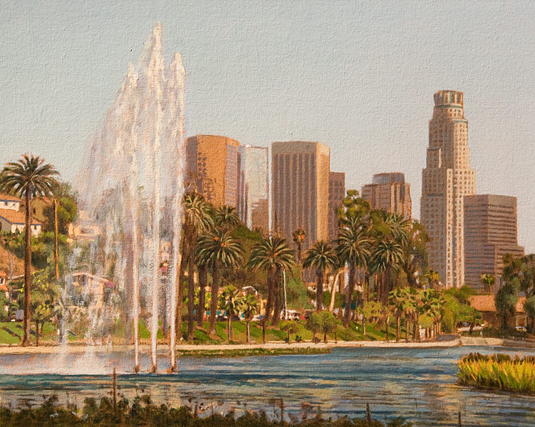 """Echo Park Study 1 (oil on canvas-board, 16"""" X 20"""", 2016) Manny Cosentino, Paintings. Plein Air urban landscape, looking southeast from the northwest corner of Echo Park Lake. Fountain on the left with downtown in the distance, the US Bank Tower to the right."""