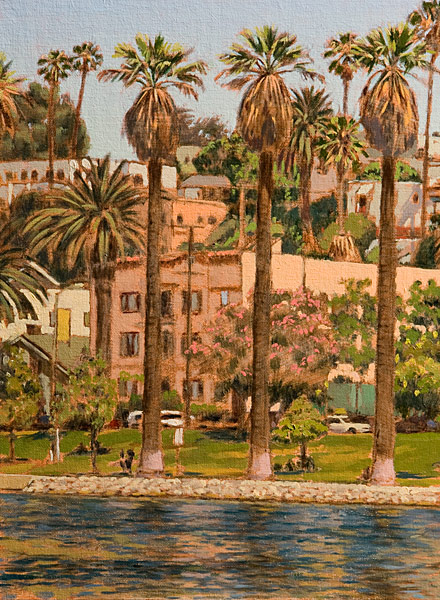 Echo Park Study 3. Oil painting, plein air study at Echo Park Lake in Los Angeles, looking north-east across the lake from the south-west edge. Three tall columnar Washingtonia palms, an old pink apartment building form the basis of the composition. © Manny Cosentino, 2016.