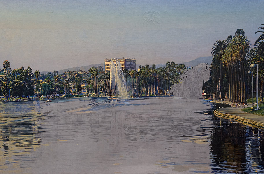 """Echo Park Unfinished (oil on canvas, 24"""" x 36"""", 1992) Manny Cosentino, Paintings, Studies. Unfinished hyper-real study of Echo Park Lake. Damaged from a fall off the easel while in progress (gesso to the right in the upper sky is cracked.) View of the lake from the south end looking north towards Sunset Boulevard. Developed from a pencil drawing on a grey ground."""