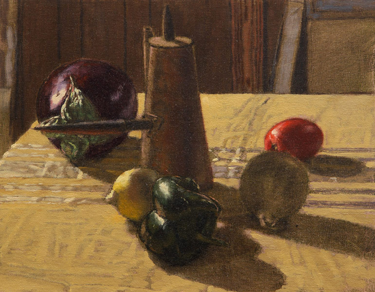 Still Life with Eggplant. Oil painting, still life. A large eggplant, a lemon, a roma tomato, a white onion, a pasilla chile pepper and a Middle Eastern coffee urn on a table in the studio. The table cloth is a dull yellow ochre with some off-white satin embroidery. A dark background with boxes and a canvas visible. © Manny Cosentino, 2013.