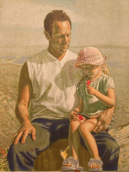 """Father and Daughter Study (oil and egg tempera on canvas-board, 24"""" x 18"""", 2006) Manny Cosentino, Paintings, Studies. Preliminary study for S&T. Father and daughter set against a panoramic view of the Malibu hills and Pacific ocean. The little girl is holding bougainvillea bracts, and rest her slippered feet on a ledge that is parallel to the bottom edge of the picture plane. Developed with white tempera off of a green earth ground, before the application of the oil color."""