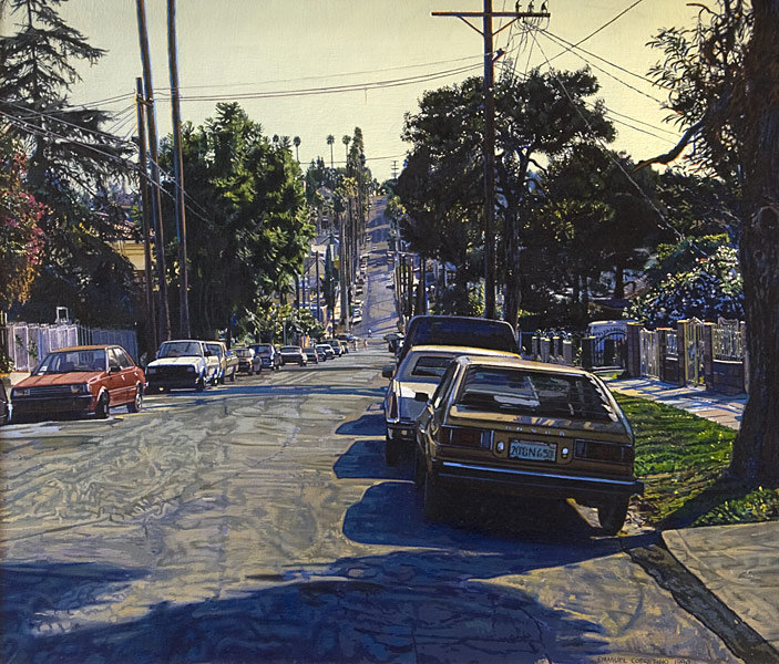 Maltman Avenue. Oil painting. View of Maltman Avenue in Silverlake, Los Angeles, CA, from just below Effie Street, looking down towards the intersection of Maltman Av and Sunset Blvd. Parked cars (the red one to the left has a parking ticket,) power poles, power lines, silhouetted trees and cracked asphalt in the late afternoon light. © Manny Cosentino, 1990.