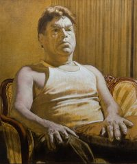 "Roberto Grisaille (oil and egg tempera on linen, 26"" x 22"", 2006) Manny Cosentino Paintings, Studies. Indirect painting methods, underpainting, wipeout, grisaille, glazing. Portrait of Roberto in an undershirt, sitting in an old upholstered chair, left as a completed grisaille. Developed from a yellow ochre and black underpainting."